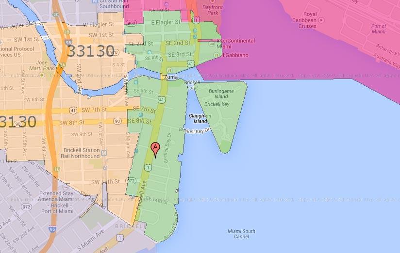 Brickell Miami Zip Code Map | Zip Code MAP