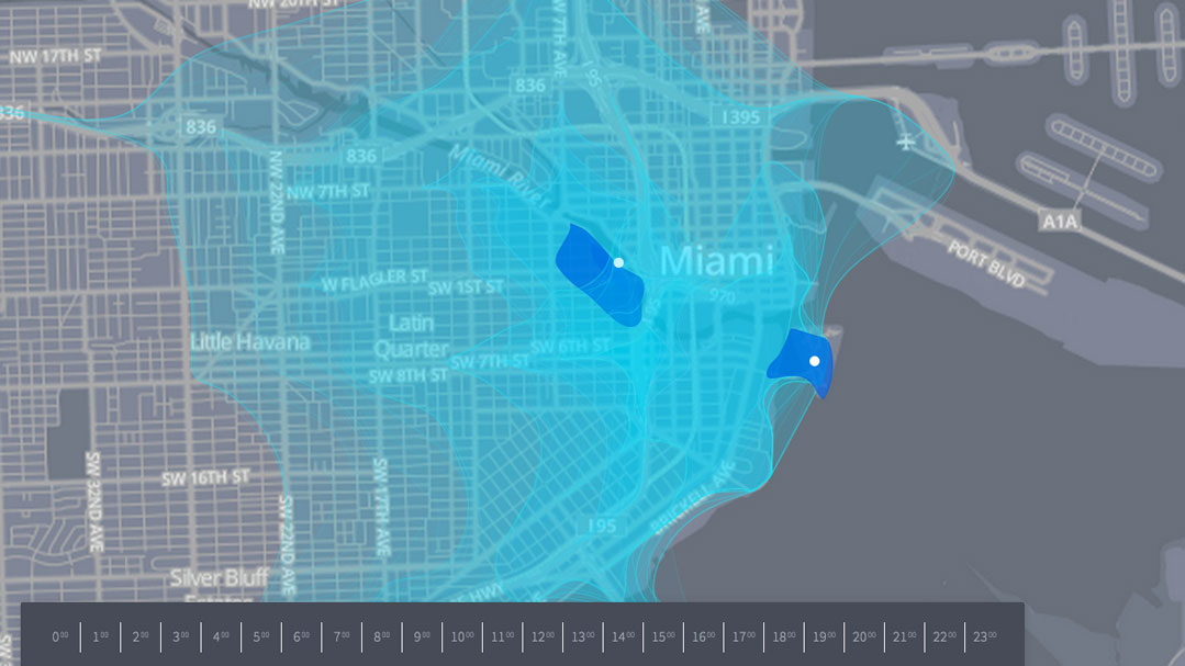 travel time map for miami