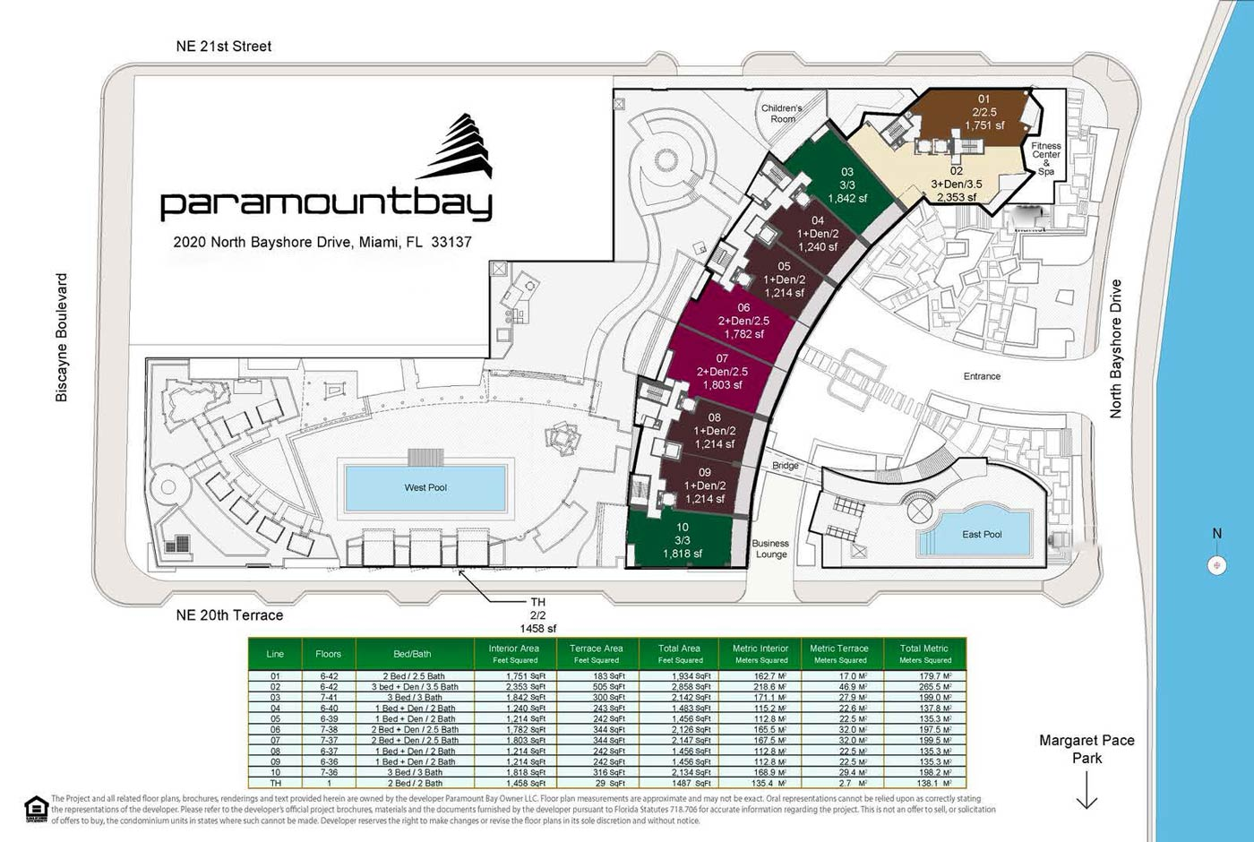 Paramount Bay Miami Unit and Common Area Layout