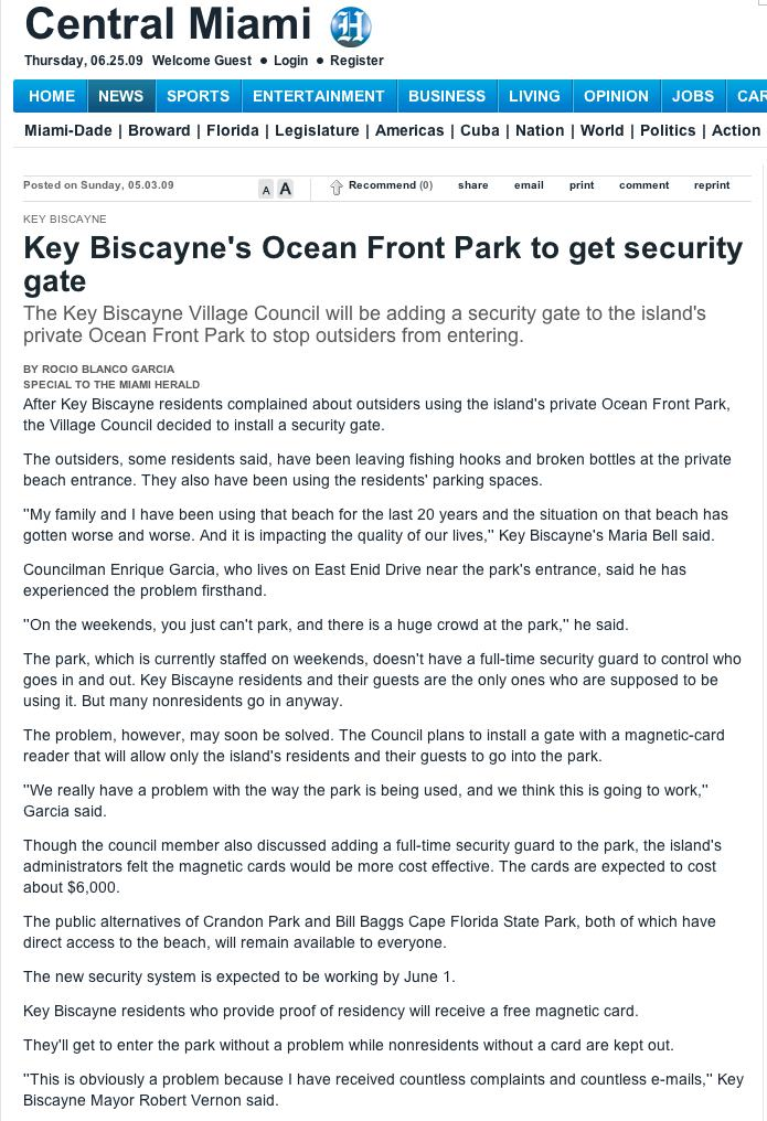 key biscayne beach access