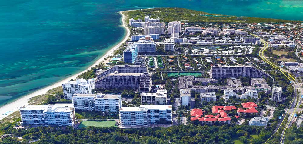 Key Biscayne Aerial view of Condominiums and Beach