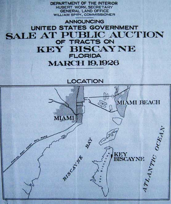 Key Biscayne Public Land Auction 1926