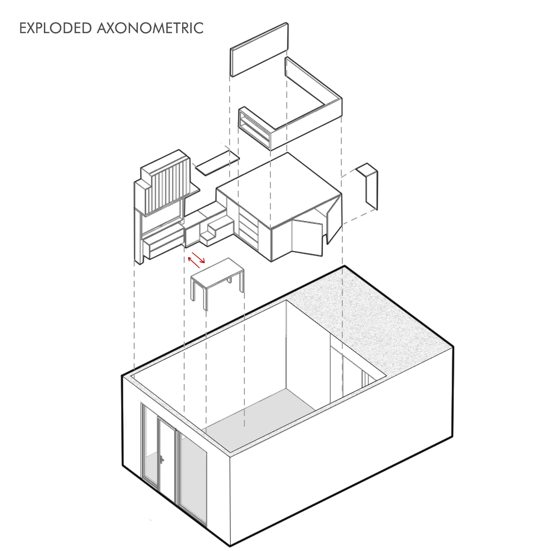 A Loft Bed With Storage Underneath Makes This Small Micro Apartment More Liveable 13
