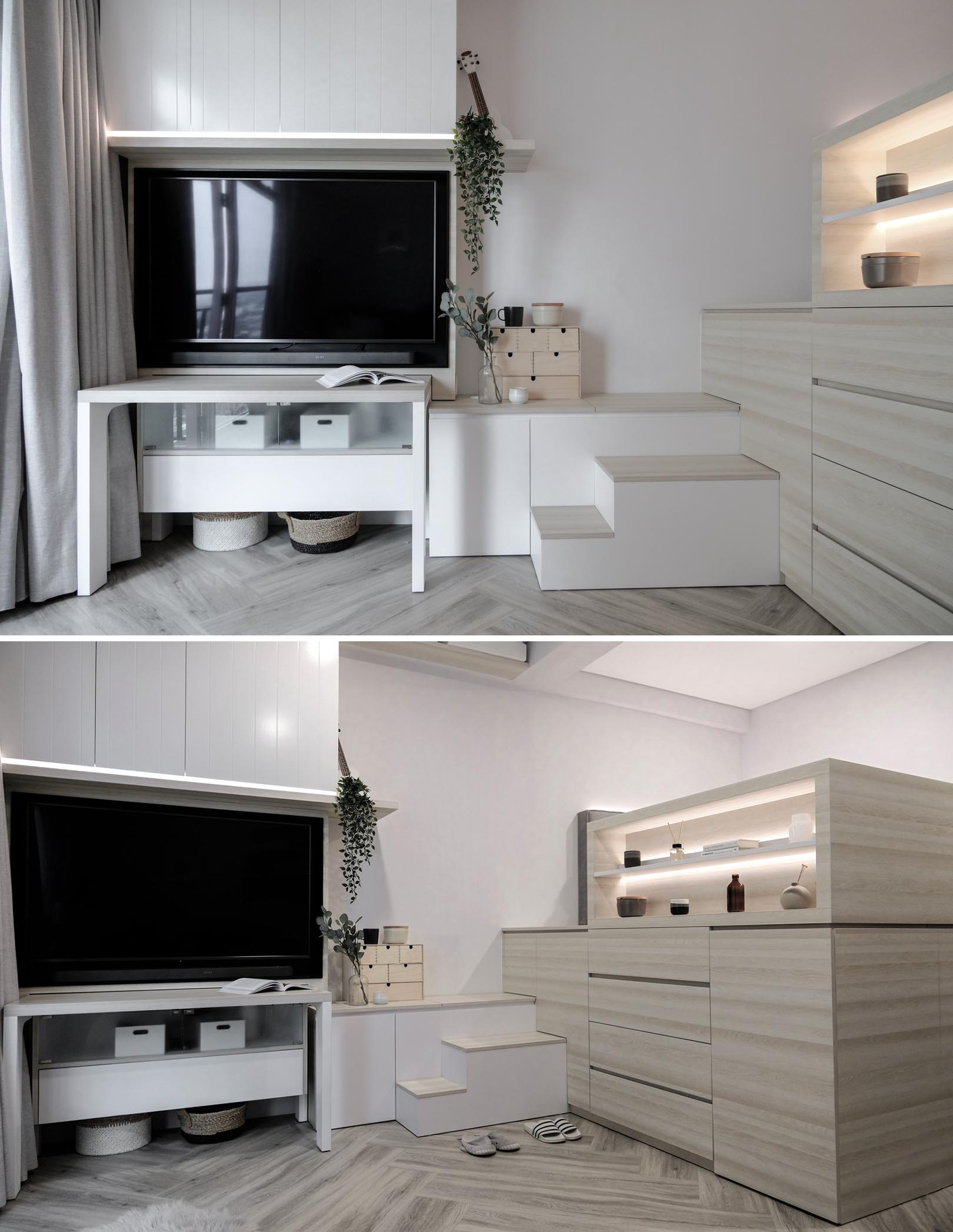 A Loft Bed With Storage Underneath Makes This Small Micro Apartment More Liveable 4